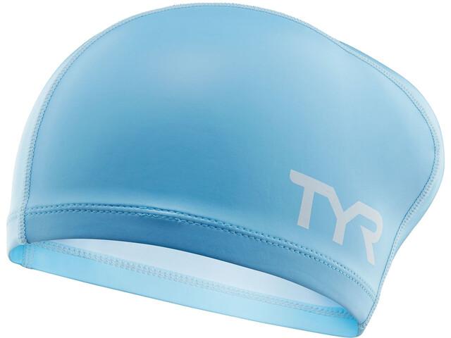 TYR Silicone Comfort Cuffia da nuoto per capelli lunghi, light blue